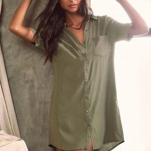 Zara Olive Green Button Down Dress